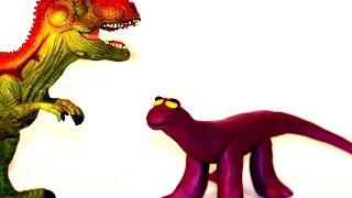 Лепка из пластилина. Добрый Динозавр из пластилина.