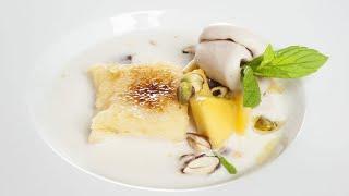 Sopa de coco y frutas con torrija caramelizada - Cocina con Bruno Oteiza