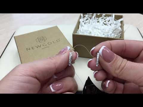 Серьги 1854 из белого золота 585 пробы с бриллиантами