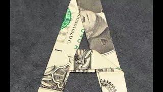 Fold Origami Dollar Bill Alphabet Letter A
