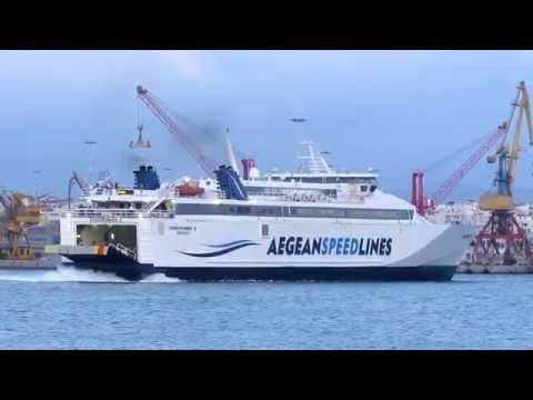 Aegean Speed Lines Speedrunner II Ship About to Berth at Iraklio Harbour
