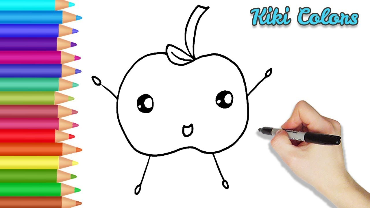 How To Draw A Cute Happy Apple Part 1