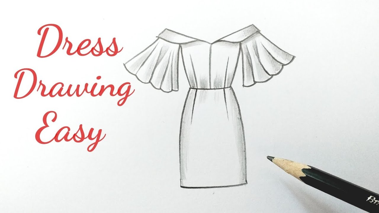 Dress Drawing Easy Design How To Draw A Beautiful Girl Dress Designs Easy Step By Step For Beginners Youtube