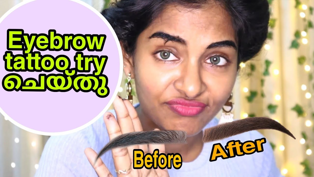 Trying out eyebrows tattoo at home Maybelline Tattoo Brow Peel Off Tint Honest review  AsviMalayalam