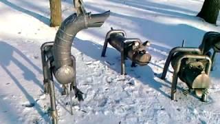 Зимний Липецк. Февраль 2016. Верхний / детский / парк. Железные собаки.