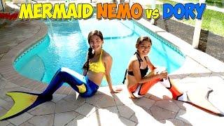 Fin Fun Mermaid Nemo vs Dory | Minute to Win It Challenge