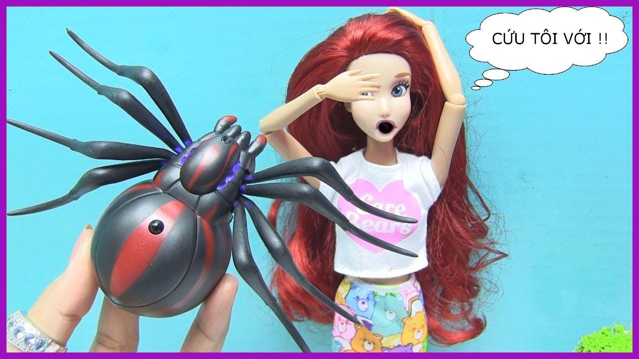 Trò Chơi Chú Gấu Ham Ăn Diện – Barbie & Ken Nàng Tiên Cá Ariel Chơi Game – Game Raccoon rumpus Mỹ