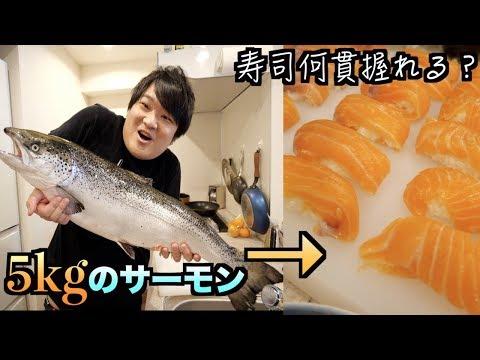 【寿司の握り方】5kgのサーモンから寿司は何貫握れるの? How to make Japanese salmon sushi.