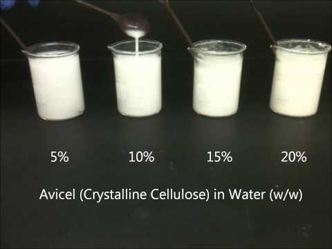 5 to 20% (w/w) Avicel (Crystalline Cellulose)