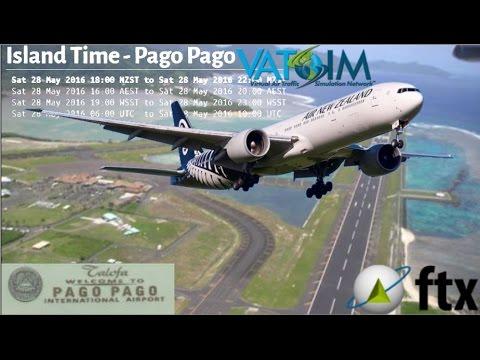 PMDG B777-300ER flies Auckland NZAA to Pago Pago NSTU on Vatsim