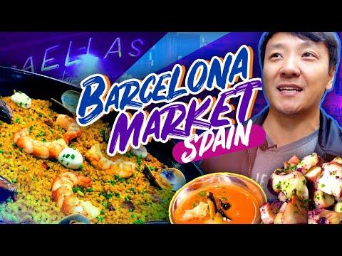 SPANISH BRUNCH at BEST FOOD MARKET in Spain! La Boqueria Market in Barcelona Spain