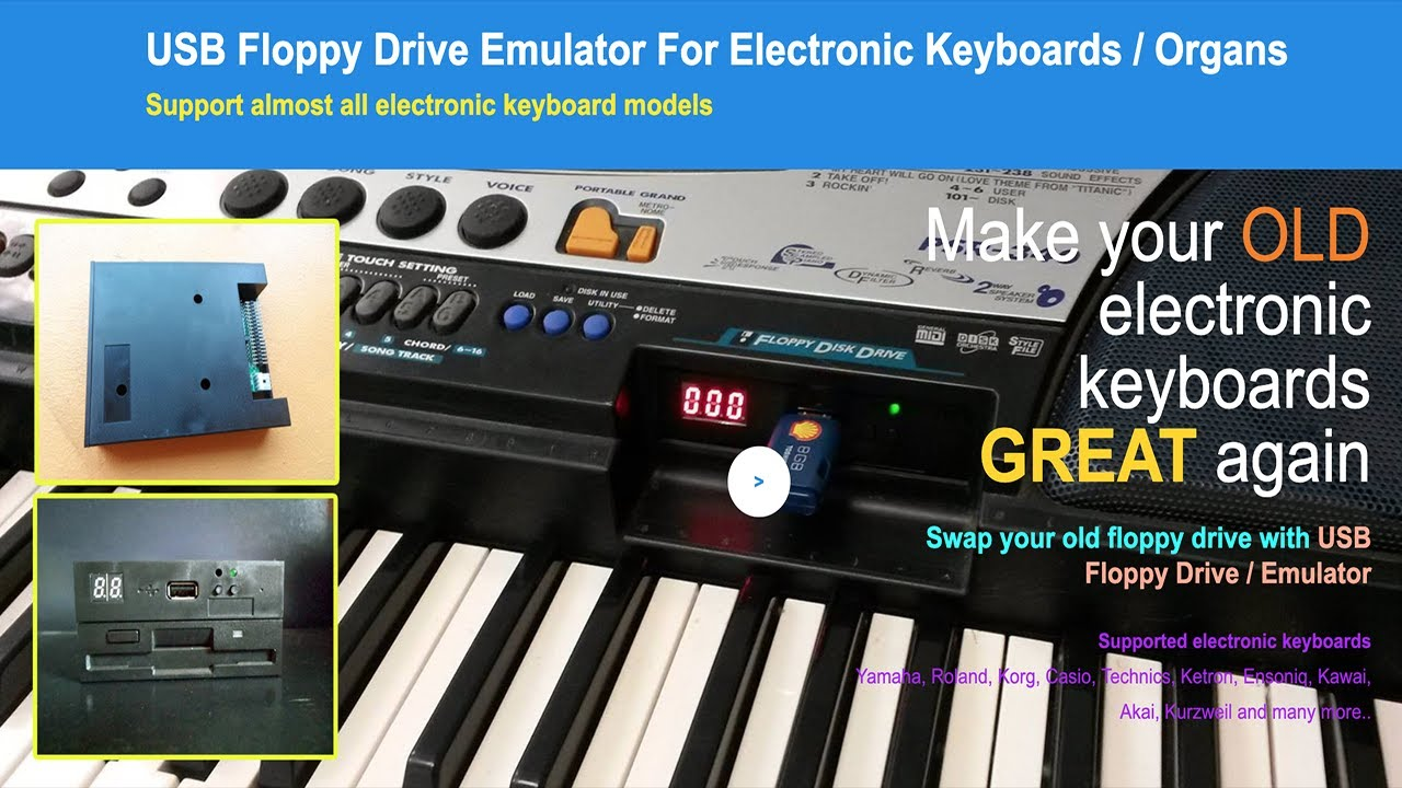 USB Floppy Drive Emulator For Electronic Keyboards / Organs