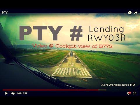 Landing @ PANAMA CITY - Tocumen Int'l Airport (PTY/MPTO) Panama # Cockpit view of B772