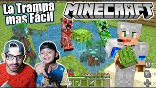 Trampa para Monstruos Facil en Minecraft | Atrapamos Creepers y Zombies | Juegos Karim Juega