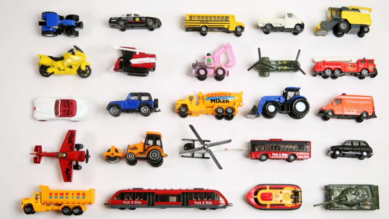 Toy Cars And Trucks : Learn vehicles names and sounds with toys street