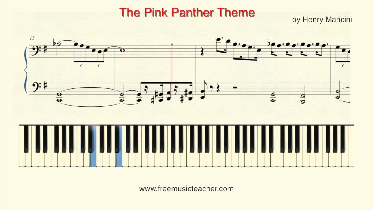 Pink panther theme for guitar piano tutorial.