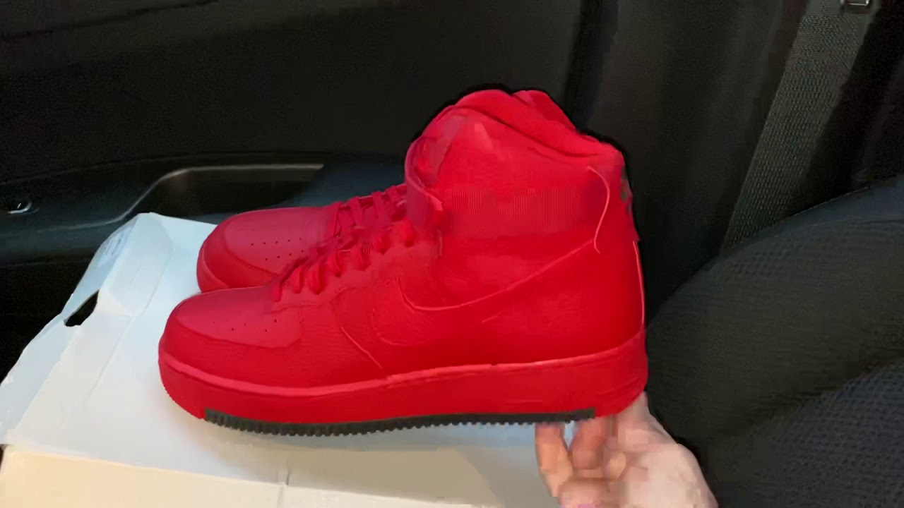 Nike Air Force 1 High University Red Black Shoes Youtube