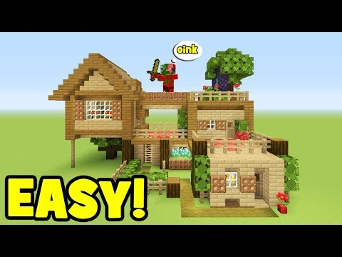 Minecraft Tutorial: How To Make A Wooden Survival house #1 (everything you need to survive)