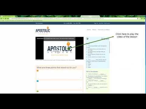 Apostolic Academy Tutorial