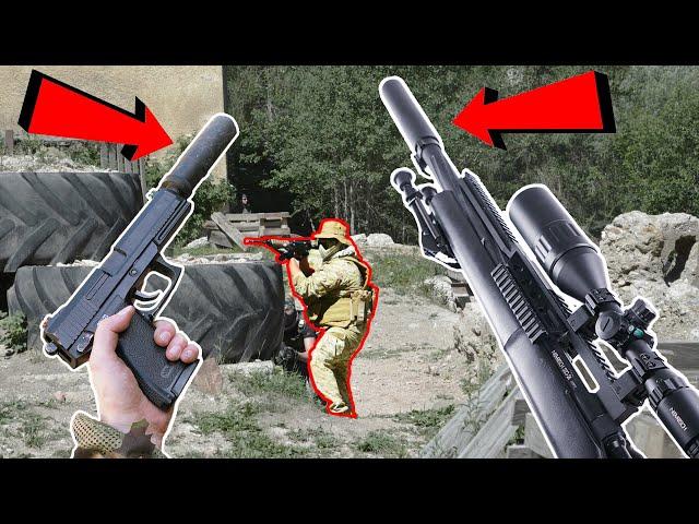 Suppressed Airsoft Guns - Sniper Gameplay