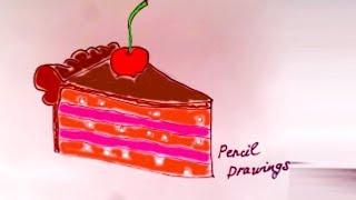Кусочек вкусного торта . Рисунки карандашами