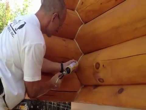 D capage et teinture de maison en bois rond youtube for Maison bois rond
