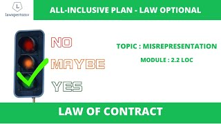 UPSC Law Optional 2021 : Misrepresentation under Law of Contracts