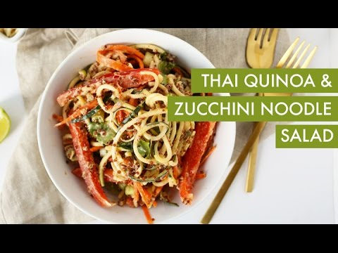 Thai quinoa zucchini noodle salad i vegan spiralizer recipe youtube forumfinder Images