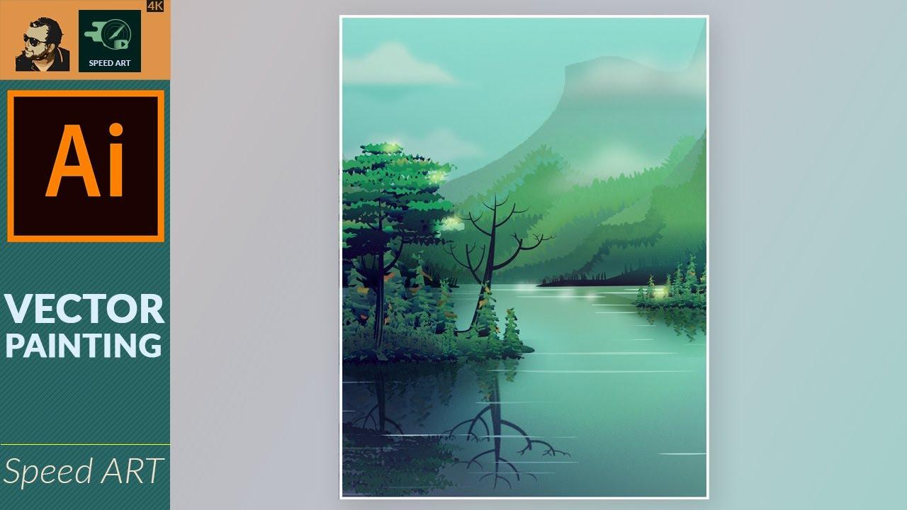 Vector Nature Painting in Adobe Illustrator   Speed Art
