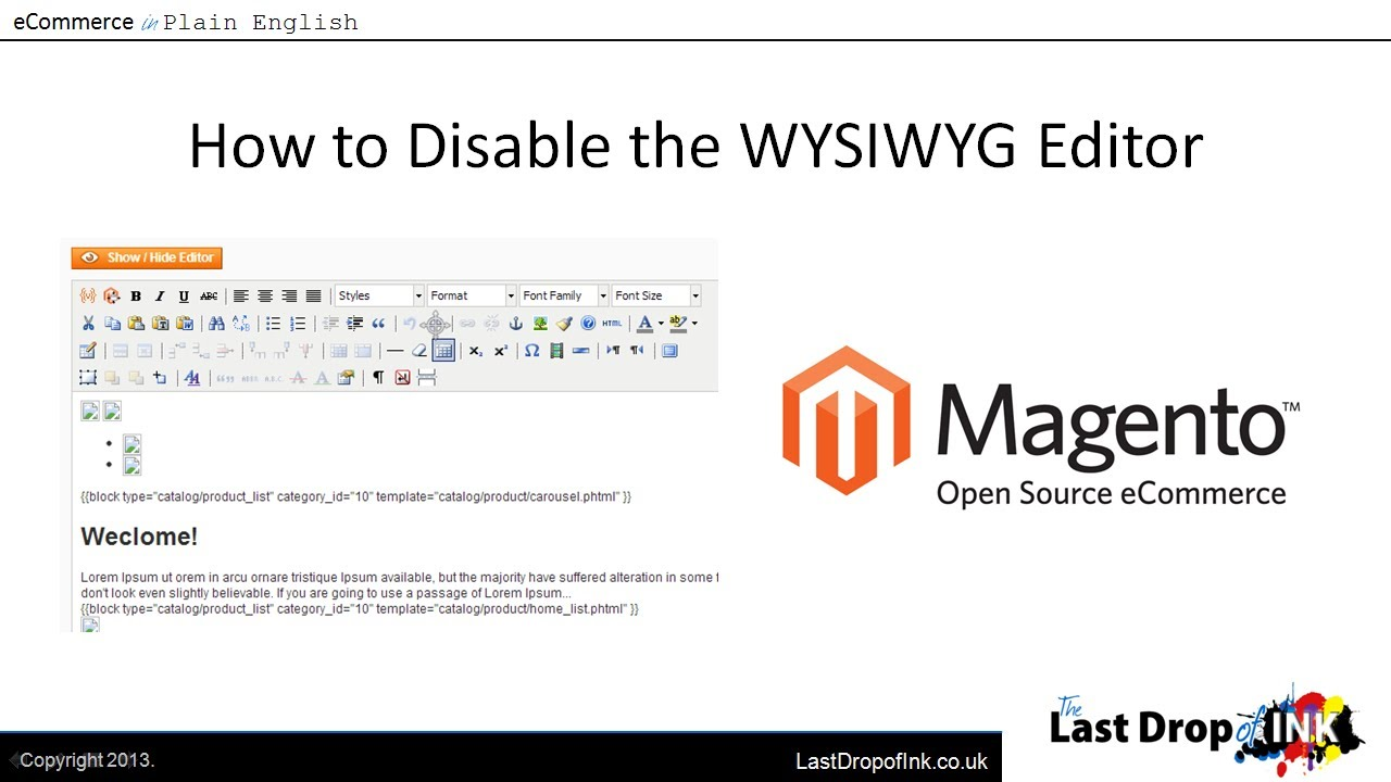 How to Disable the Magento WYSIWYG Editor