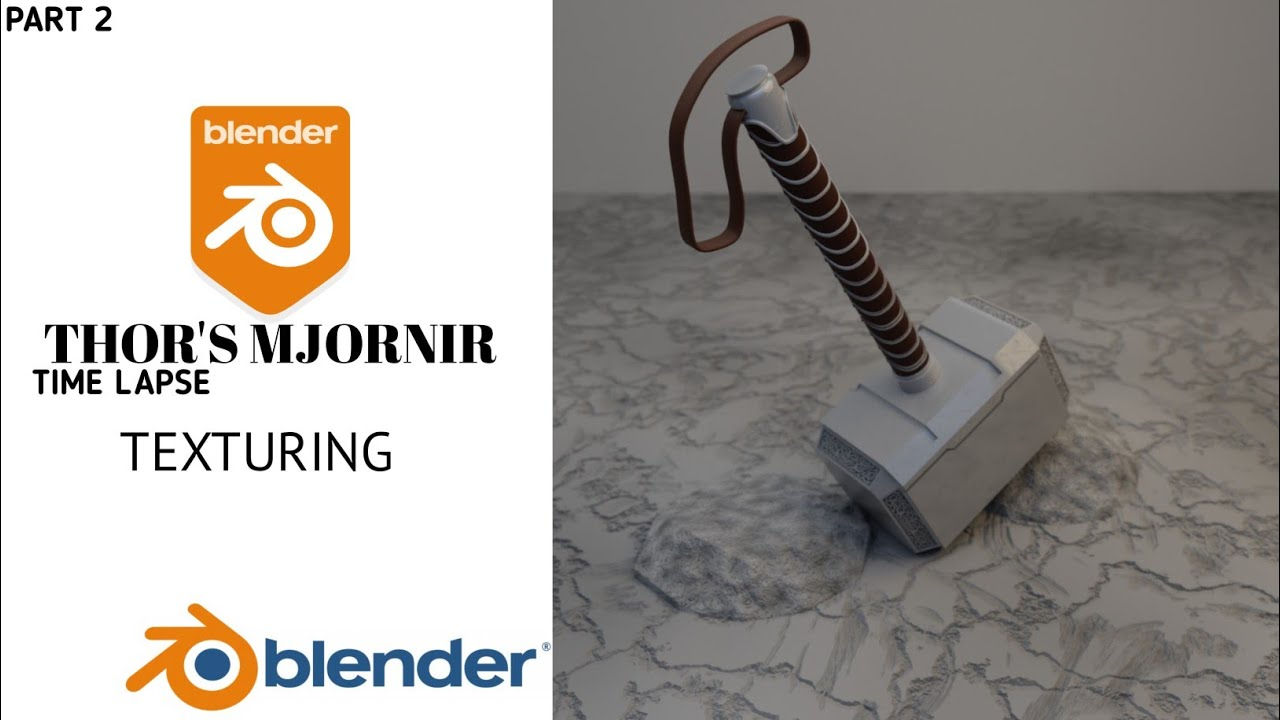 Texturing Thor's Mjornir in Blender 2.9   Blender time lapse process video