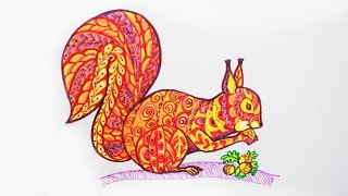 Уроки рисования. Как нарисовать белочку в стиле дудлинг Doodling | Zentangle | Art School