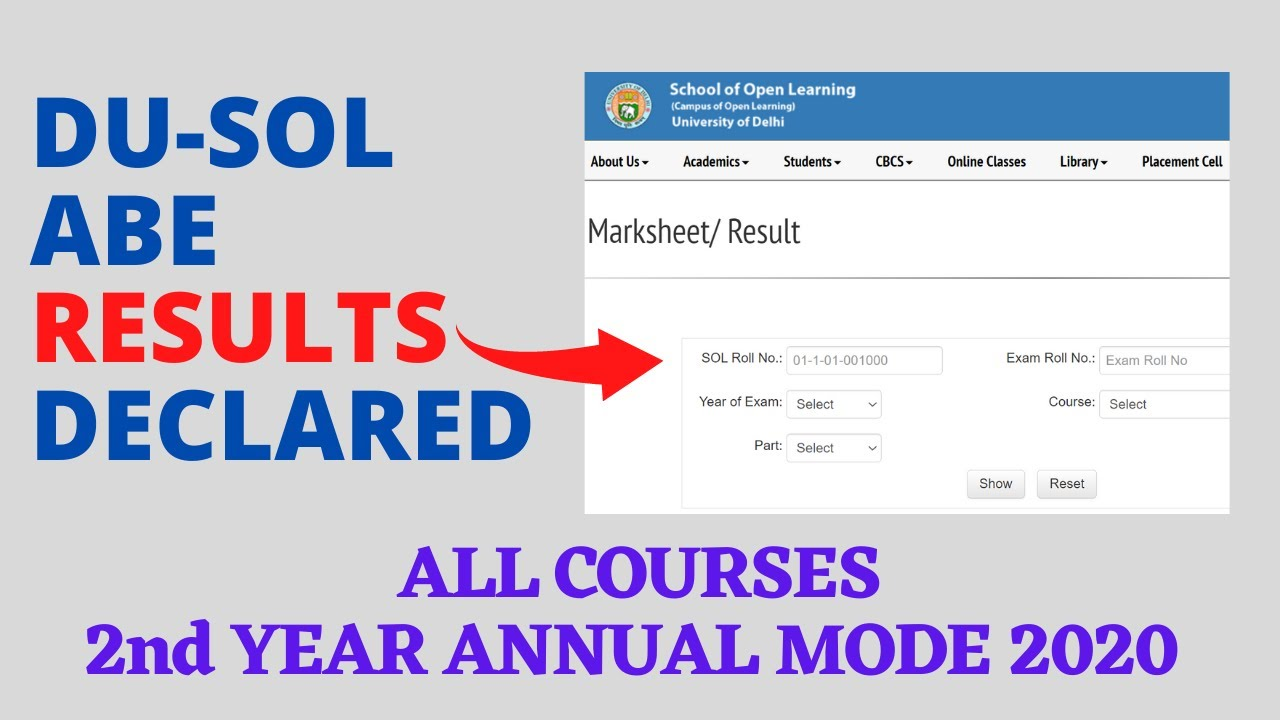 DU-SOL ABE Results Declared  All Courses 10nd Year Annual Mode 100100  SOL  Reporter.
