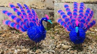 113) Ide kreatif - Cara membuat merak dari stoking    how to make nylon flower (peacock)