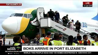 Springboks arrive in Port Elizabeth