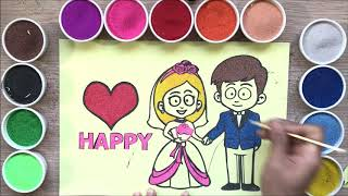 Colored sand painting the bride & groom wedding so happy - Toys for kids
