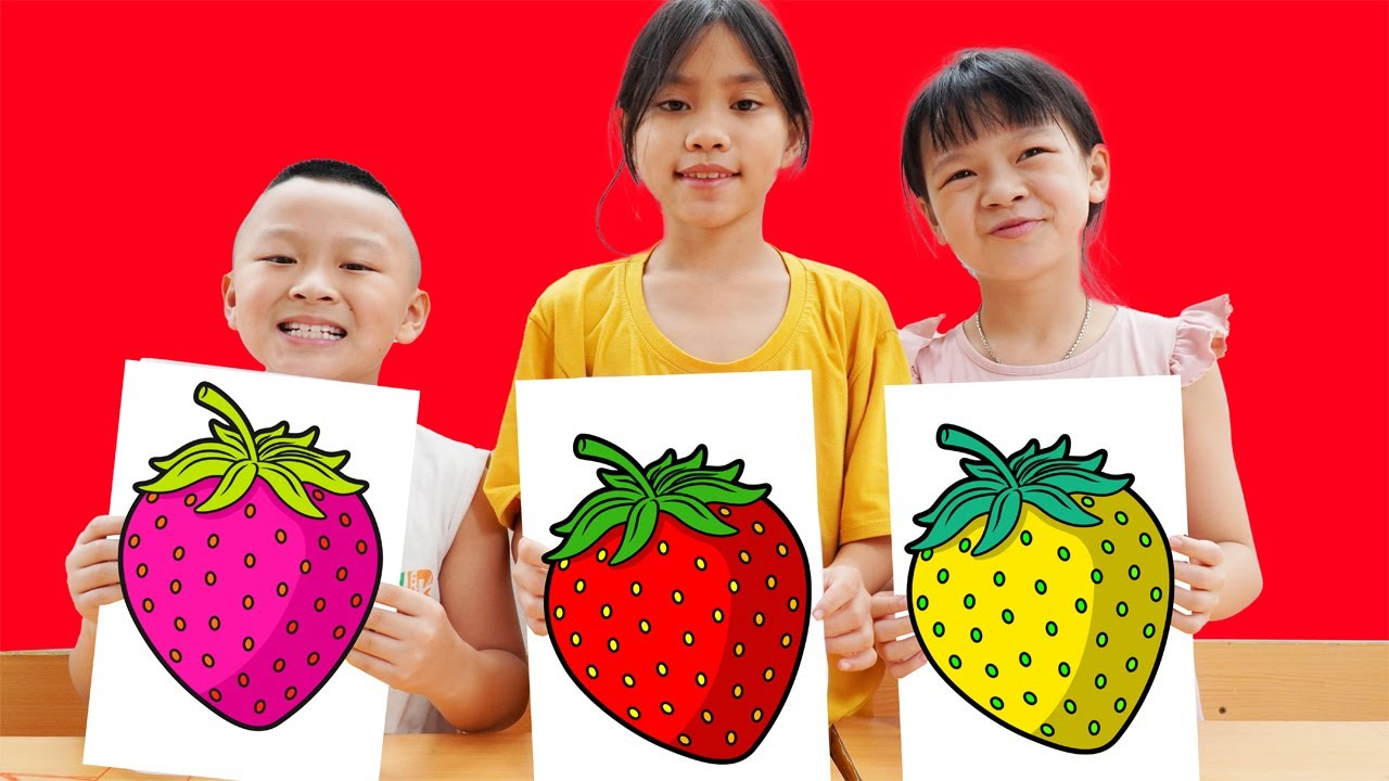 HCN Friends Learn Color Pink Strawberry Drawing and Coloring for XuHao   HCN Go School