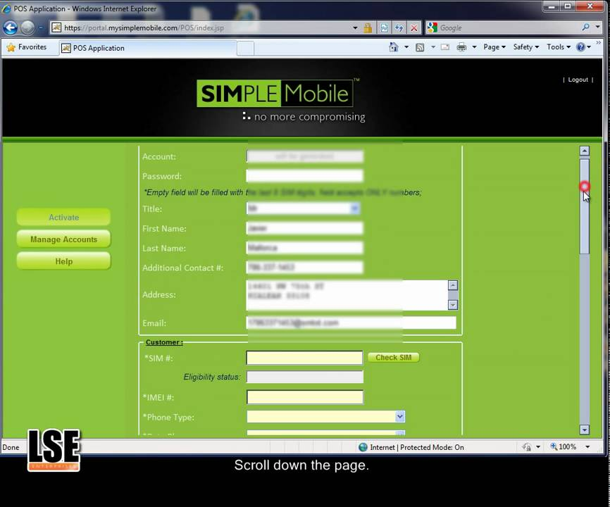 Simple mobile number