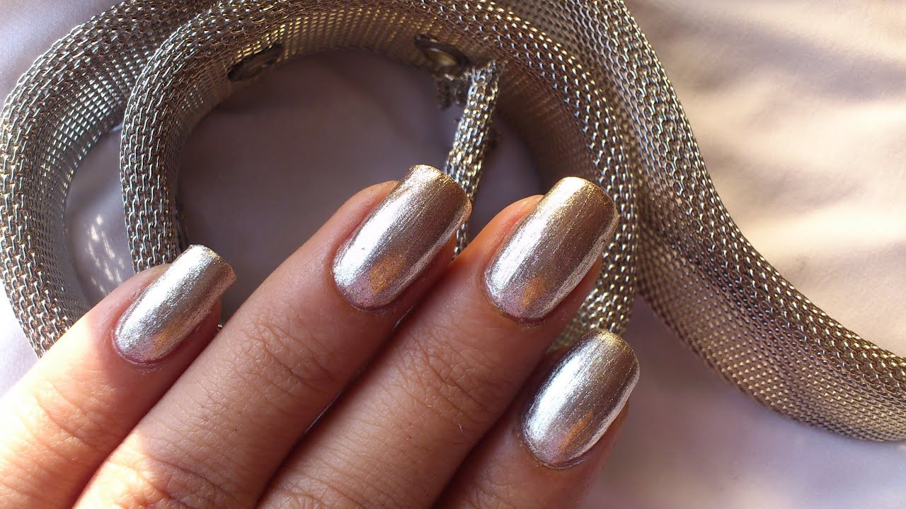 metallic silver nail polish : *showing off my nails :-d * - youtube