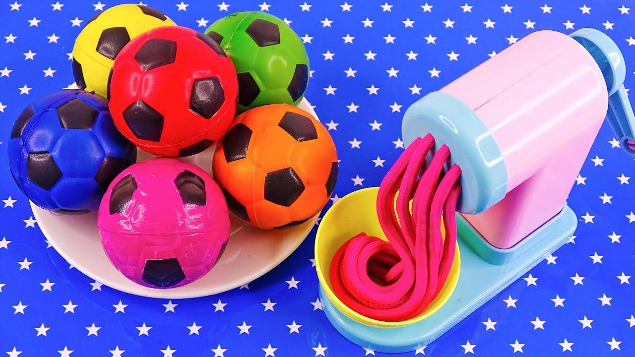 Satisfying Video l How To Make Playdoh Noodles With Magic Soccer Balls ASMR #219 Bon Bon