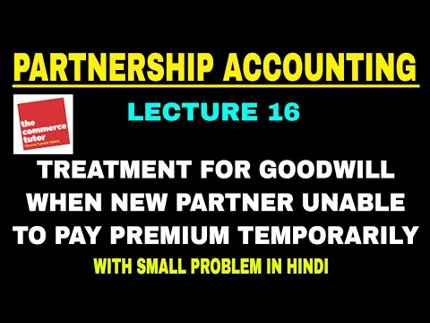 Treatment of Goodwill on Admission of New Partner | Partner Unable to Pay Premium Temporarily
