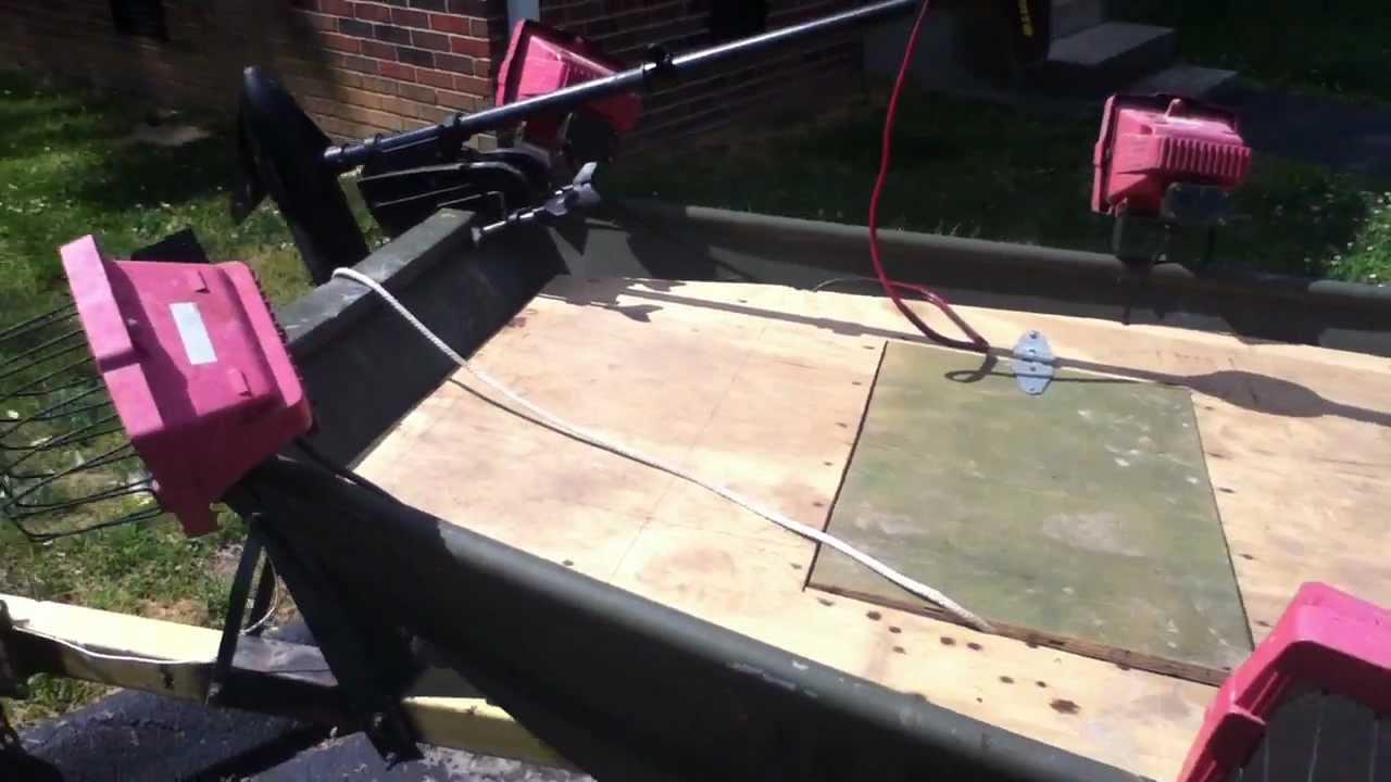 14 foot bowfishing flat bottom youtube for Bow fishing boats