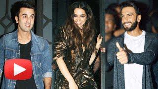 Deepika Padukone,Ranveer Singh, Ranbir Kapoor At Filmfare Editor Birthday Party 2016