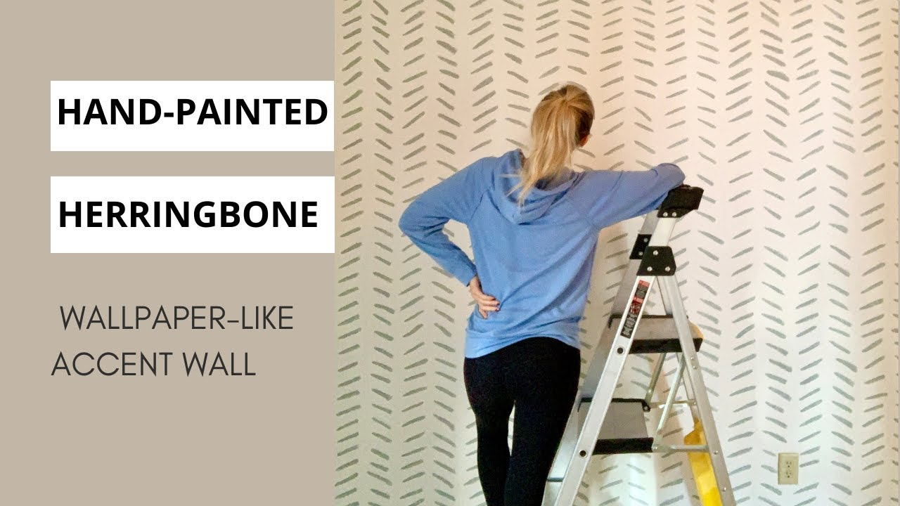 Hand Painted Herringbone Accent Wall Ideas Diy Wallpaper Youtube