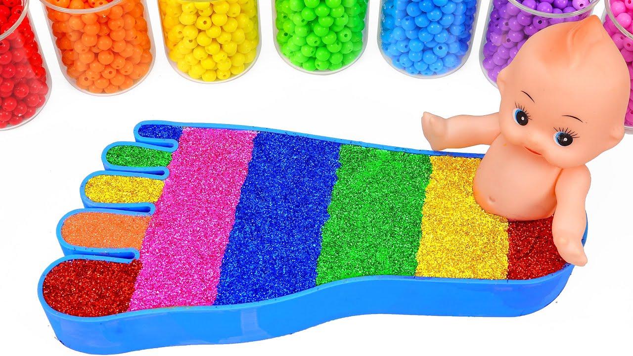 Satisfying Video l Mixing All My Slime Nail Polish Foot Rainbow Bathtub ASMR
