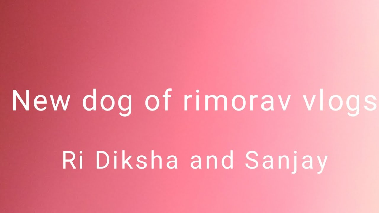 New dog of Ri Diksha and Sanjay (Rimorav vlogs ) - YouTube