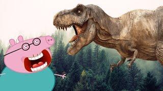 Динозавр в лесу. Свинка Пеппа убегает. Поход за грибами