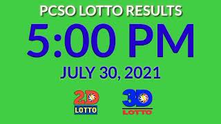 5pm Pcso Lotto Results Today July 30, 2021 2d 3d stl ez2 swertres