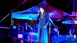"Adam Lambert singing ""Soaked"" at Mandalay Bay Beach in Las Vegas. (..."