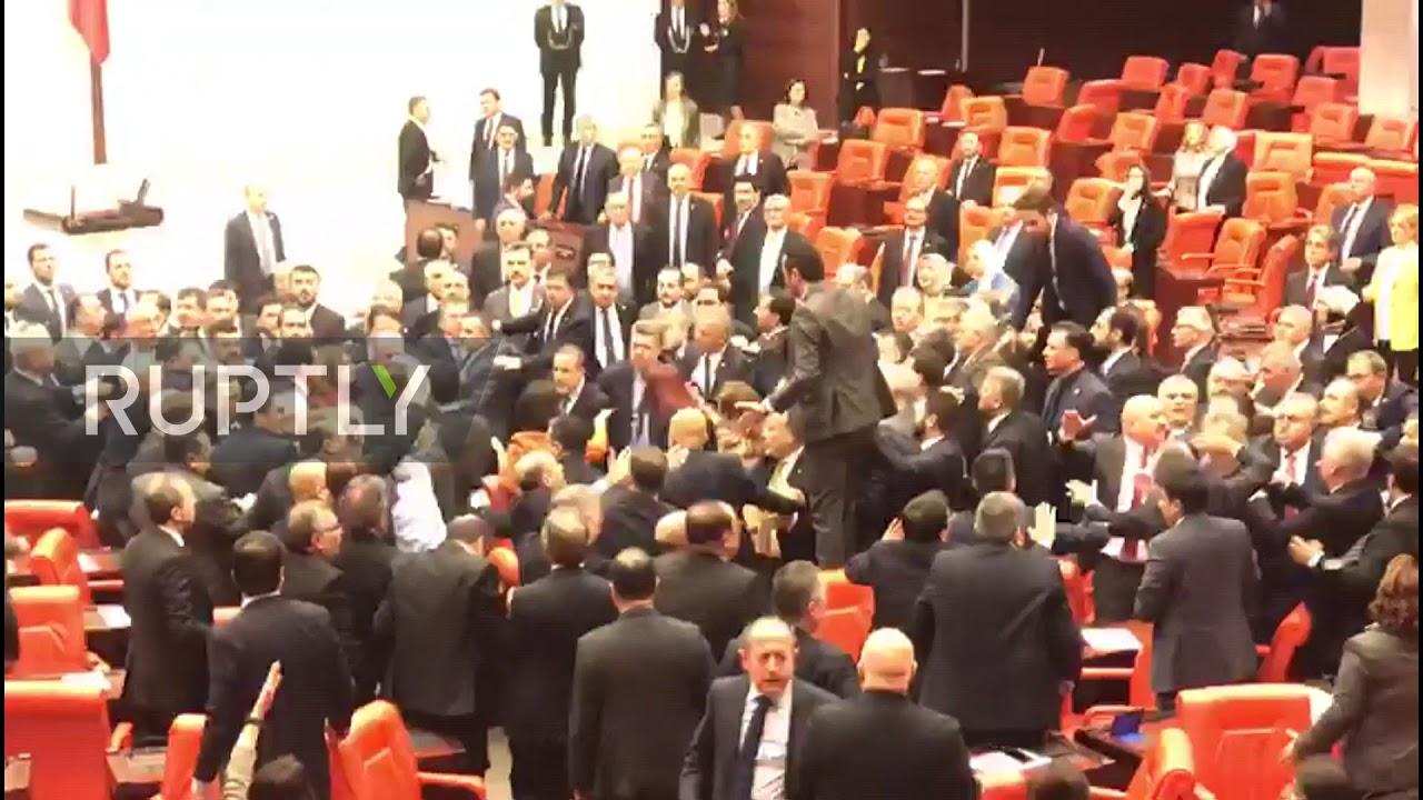 Turkey: Fists fly as lawmakers brawl inside Turkish parliament